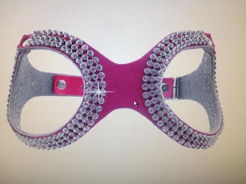 harnais lunette cuir et strass rose taille S