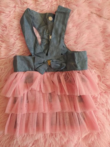 Robe jean tulle rose